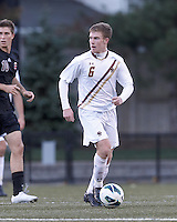 Boston College midfielder Jason Abbott (6) looks to pass. Brown University (black) defeated Boston College (white), 1-0, at Newton Campus Field, October 16, 2012.