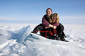 Nastya (left) and Heleen during their trek across frozen Lake Baikal in Siberia, Russia. .They are a group of five people: Justin Jin (Chinese-British), Heleen van Geest (Dutch), Nastya and Misha Martynov (Russian) and their Russian guide Arkady. .They pulled their sledges 80 km across the world's deepest lake, taking a break on Olkhon Island. They slept two nights on the ice in -15c. .Baikal, the world's largest lake by volume, contains one-fifth of the earth's fresh water and plunges to a depth of 1,637 metres..The lake is frozen from November to April, allowing people to cross by cars and lorries.
