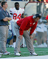 Ohio State Buckeyes head coach Urban Meyer puts his head down after a play against California Golden Bears in the 1st quarter at Memorial Stadium in Berkeley, California on September 14, 2013.  (Dispatch photo by Kyle Robertson)