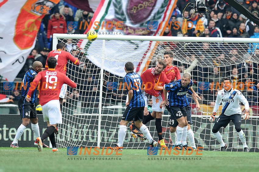 Gol di Juan (Roma).Roma, 05/02/2012 Stadio Olimpico.Football Calcio 2011/2012 .Roma vs Inter.Campionato di calcio Serie A.Foto Insidefoto Antonietta Baldassarre