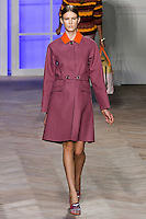 Colinne Michaelis walks the runway in a purple/orange cotton placket front raincoat, by Tommy Hilfiger for the Tommy Hilfiger Spring 2012 Pop Prep Collection, during Mercedes-Benz Fashion Week Spring 2012.