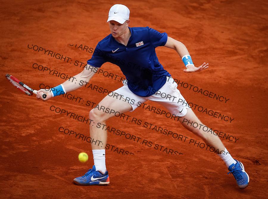 Davis Cup 2016 Quarter Final<br /> Srbija v Velika Britanija-Dubl-Doubles<br /> Dusan Lajovic SRB v Kyle Edmund GBR<br /> Kyle Edmund<br /> Beograd, 17.07.2016.<br /> Foto: Srdjan Stevanovic/Starsportphoto.com&copy;
