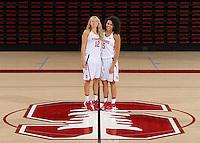 STANFORD, CA - September, 20, 2016: The 2016-2017 Stanford Women's Basketball Team. Brittany McPhee, Kaylee Johnson.