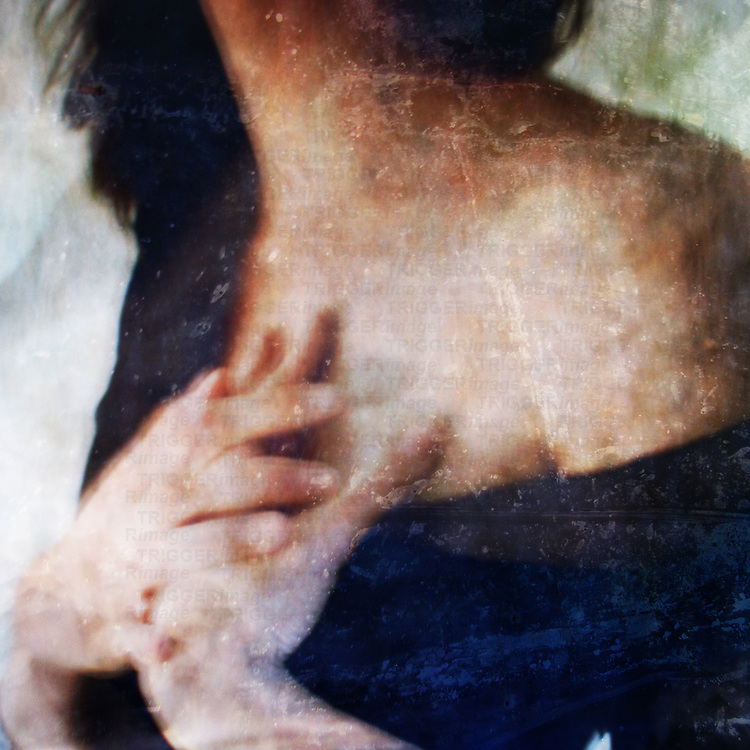 textured images of a woman holding her hands to her heart