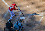 27 April 2014: Washington Nationals outfielder Tyler Moore at bat against the San Diego Padres at Nationals Park in Washington, DC. The Padres defeated the Nationals 4-2 to to split their 4-game series. Mandatory Credit: Ed Wolfstein Photo *** RAW (NEF) Image File Available ***