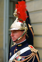 A ceremonial guard at the Elysee Palace in Paris, France.