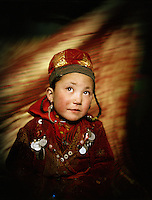 Portrait of Susaï (6 years old), Sultan's daughter..Campment of Tshar Tash (Haji Osman's camp), in the Wakhjir valley, at the source of the Oxus..Winter expedition through the Wakhan Corridor and into the Afghan Pamir mountains, to document the life of the Afghan Kyrgyz tribe. January/February 2008. Afghanistan valley, at the source of the Oxus..Winter expedition through the Wakhan Corridor and into the Afghan Pamir mountains, to document the life of the Afghan Kyrgyz tribe. January/February 2008. Afghanistan