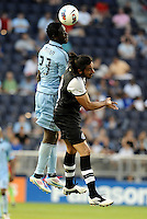 Kei Kamara (23) Sporting KC wins the aerial battle against Newcastle defender Jonas Gutierrez... Sporting Kansas City and Newcastle United played to a scoreless tie in an international friendly at LIVESTRONG Sporting Park, Kansas City, Kansas.