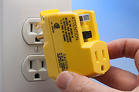 GROUND-FAULT CIRCUIT INTERRUPTER<br /> Protects From Electric Shock<br /> GFCI outlet adapter prevents shock by detecting discrepancies between the neutral and hot slots. When an imbalance is detected, the circuit is tripped.