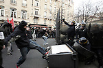 """PARIS FRANCE LE 17/03/2006 - EMEUTES DANS LE QUARTIER DE L UNIVERSITE DE LA SORBONNE A PARIS; BATAILLE ENTRE DES ETUDIANT ANTI CPE ( CONTRAT PREMIERE EMBAUCHE )  ET CRS ( POLICE ANTI EMEUTE )....The contrat premiere embauche (CPE), translated first employment contract, was a new form of employment contract pushed in spring 2006 in France by Prime Minister Dominique de Villepin. This employment contract, available solely to employees under 26, would have made it easier for the employer to fire employees by removing the need to provide reasons for dismissal for an initial """"trial period"""" of two years, in exchange for some financial guarantees for employees. ....The law has met heavy resistance from students, trade unions, and left-wing activists, sparking protests in February and March 2006 (and continuing into April) with hundreds of thousands of participants in over 180 cities and towns across France"""