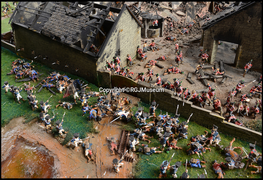 BNPS.co.uk (01202 558833)<br /> Pic: RGJMuseum/BNPS<br /> <br /> The French attacking the gates of Hougemont.<br /> <br /> Historic battle brought back to life...<br /> <br /> A stunning diorama of the battle of Waterloo has been restored to its former glory after a painstaking cleaning operation to remove nearly 50 years of dust.<br /> <br /> The sweeping panorama contain's 21,500 figures and nearly 10,000 horses, each of which has been meticulously cleaned by hand over the last five months by husband and wife team Kelvin and Mary Thatcher from Norfolk.<br /> <br /> The pristine model has now gone back on display at the refurbished Royal Green jackets museum in Winchester.<br /> <br /> A sobering fact is that there were over twice as many casualties in the actual battle as there are figures on the diorama.