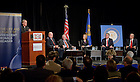 Nov. 11, 2011; Father John Jenkins welcomes participants and guests to a symposium exploring the presidency and policies of President Ronald Reagan.  Panelists were, from left to right:  James Miller, former director of the Office of Management and Budget, Edwin Meese, former attorney general of the United States, moderator Judy Woodruff of PBS Newshour and Bloomberg News, James Burnley, former U.S. Secretary of Transportation and Manley Johnson, former vice chairman of the Federal Reserve Board of Governors...Photo by Matt Cashore/University of Notre Dame