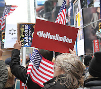 NEW YORK, NY - FEBRUARY 19:  Participants in the 'I Am Muslim Too' rally in Times Square coordinated by hip hop mogul Russell Simmons and a group of interfaith religious leaders in New York, New York on February 19, 2017.  Photo Credit: Rainmaker Photo/MediaPunch