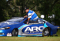 Aug 19, 2016; Brainerd, MN, USA; NHRA pro stock driver Alan Prusiensky during qualifying for the Lucas Oil Nationals at Brainerd International Raceway. Mandatory Credit: Mark J. Rebilas-USA TODAY Sports