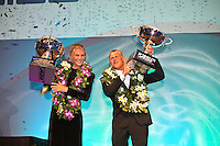 """Stephanie Gilmore (AUS) and Mick Fanning (AUS).COOLANGATTA, Queensland/Australia (Thursday, February 25, 2010) - . - The ASP World Champions' Crowning took place tonight at the Gold Coast Convention and Exhibition Centre beginning at 6:30pm.. .Surfing's """"night of nights"""", the ASP World Champions' Crowning, was a gala event, hosting the world's best surfers as well as distinguished figures from the surfing industry in honour of the 2009 ASP World Champions.. .Mick Fanning (AUS), accepted his second ASP World Champion trophy,  just days before beginning his title defence at his home break of Snapper Rocks, the location of the upcoming Quiksilver Pro Gold Coast .. .Stephanie Gilmore (AUS), 22, reigning three-time ASP Women's World Champion, received her third consecutive ASP Women's World Title cup, and the young natural-footer will soon embark on a campaign to make it a four-peat in 2010. No other surfer in the history of the sport has won three world title from three attempts. Gilmore won her first title in her Rookie year on tour and has won back to back titles since then. Gilmore will begin this weekend at the opening event of the 2010 ASP Women's World Tour season, the Roxy Pro Gold Coast. . .Other ASP Dream Tour athletes  recognised were respective Men's and Women's Runner-Ups Joel Parkinson (AUS),  and Silvana Lima (BRA),  as well as Rookies of the Year Kekoa Bacalso (HAW) and Coco Ho (HAW).. .Harley Ingleby (AUS) and Jennifer Smith (USA) took out the ASP World Longboarding and ASP Women's World Longboarding Titles respectively, while Dan Ross (AUS), and Coco Ho (HAW)  took home hardware for their respective No. 1 finishes on the ASP World Qualifying Series last season...The Men's and Women's World Junior Champions trophies were awarded to Maxime Huscenot (FRA) and Laura Enever (AUS) while ASP  Lifetime Membership was awarded to Layne Beachley (AUS).. .In addition to honouring the champions from 2009, the ASP World Champions' Crowning also recognised athletes wh"""