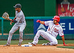 7 April 2016: Washington Nationals infielder Anthony Rendon slides safely into second with a double in the first inning against the Miami Marlins during the Nationals' Home Opening Game at Nationals Park in Washington, DC. The Marlins defeated the Nationals 6-4 in their first meeting of the 2016 MLB season. Mandatory Credit: Ed Wolfstein Photo *** RAW (NEF) Image File Available ***