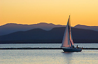 Lake Champlain Sailing at Sunset in Burlington Vermont