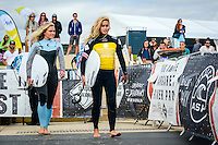 Margaret River, Western Australia. (Tuesday April 1, 2014) Felicity Palmateer (AUS) and Alessa Quizon (HAW).–  The 2014 Drug Aware Margaret River Pro World Championship Tour event kicked off today in solid 6' surf.  Round 1 was completed in good conditions with a couple of upsets with local surfer and injury wildcard Yadin Nichol (AUS) defeating kelly Slater (USA) and Joel Parkinson (AUS) loosing to Adam Melling (AUS).  Photo: joliphotos.com