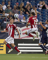 Chivas USA forward Alejandro Moreno (15) touch header to Chivas USA forward Justin Braun (17). In a Major League Soccer (MLS) match, Chivas USA defeated the New England Revolution, 3-2, at Gillette Stadium on August 6, 2011.
