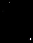 Planets Venus and Saturn lineup with the crescent moon as seen from Corte Madera, California.