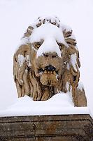 Szechenyi Lanchid (Chain Bridge) in the winter snow. Budapest Hungary stock photos
