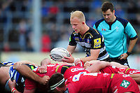 Will Homer of Bath Rugby looks to put the ball into a scrum. Pre-season friendly match, between the Scarlets and Bath Rugby on August 20, 2016 at Eirias Park in Colwyn Bay, Wales. Photo by: Patrick Khachfe / Onside Images