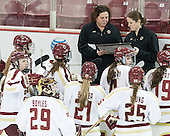Courtney Kennedy (BC - Assistant Coach), Katie King Crowley (BC - Head Coach) - The Boston College Eagles defeated the visiting University of Vermont Catamounts 2-0 on Saturday, January 18, 2014, at Kelley Rink in Conte Forum in Chestnut Hill, Massachusetts.