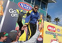 Mar. 17, 2013; Gainesville, FL, USA; NHRA top fuel dragster driver Sidnei Frigo during the Gatornationals at Auto-Plus Raceway at Gainesville. Mandatory Credit: Mark J. Rebilas-