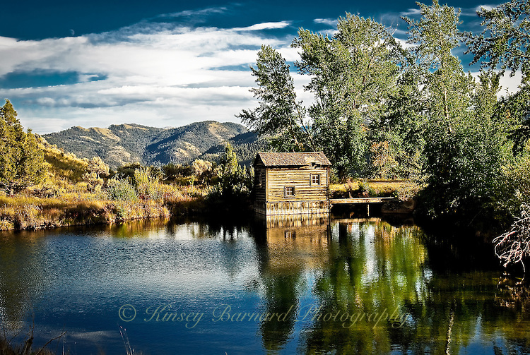 &quot;MILL POND&quot;<br /> <br /> On old pump house stands beside a pond. Pump house, pond and trees reflecting in the water. Montana big sky with beautiful, billowy, white clouds in the background.