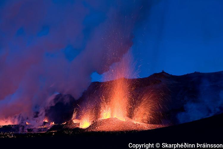 Erupting volcano on Fimmvörðuháls, south Iceland in March 2010