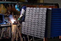 Welding in steel fabrication factory <br />