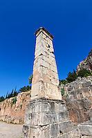 Pillar of Prusias II (2nd cent. B.C.) in Delphi, Greece