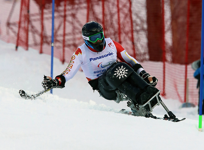 13/03/2014. Canadian Kurt Oatway competes in the men's  slalom sitting skiing event at the Sochi 2014 Paralympic Winter Games in Sochi Russia. (Photo Scott Grant/Canadian Paralympic Committee)
