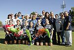 26 October 2008: Duke University seniors pose with their families before the game. Front row (l to r): Cassidy Powers, Christie McDonald, Kelly McCann, Lorraine Quinn, Sheila Kramer, Kelly Hathorn. The Duke University Blue Devils defeated the Clemson University Tigers 6-0 at Koskinen Stadium in Durham, North Carolina in an NCAA Division I Women's college soccer game.