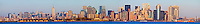New York City Skyline and Statue of Liberty panorama sunset