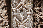 Sculpted Christian fish symbols in the columns of the cloisters of Monreale Cathedral - Palermo - Sicily Pictures, photos, images &amp; fotos photography
