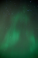 A vertical composition of the colorful Northern Lights. Marquette, MI