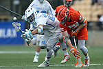 29 April 2016: North Carolina's Stephen Kelly (24) and Syracuse's Drew Jenkins (37). The University of North Carolina Tar Heels played the Syracuse University Orange at Fifth Third Bank Stadium in Kennesaw, Georgia in a 2016 Atlantic Coast Conference Men's Lacrosse Tournament semifinal match.