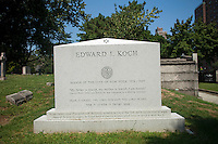 The tombstone of former NYC Mayor Edward I. Koch, who is not dead yet, in the Trinity Church Cemetery and Mausoleum in the New York neighborhood Washington Heights, seen on Thursday, September 2, 2010. Koch wanted to be buried in Manhattan and the historic graveyard, dating back to 1843 is the only active cemetery left in Manhattan. (© Frances M. Roberts)