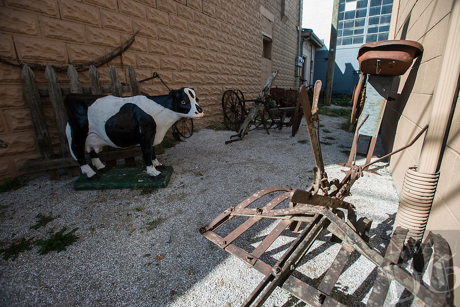 NWA Democrat-Gazette/ANTHONY REYES &bull; @NWATONYR<br /> Various animal driven farm implements outside the Elm Springs Historical Society Monday, March 21, 2016 in Elm Springs. Exhibits inside their 100-year-old building include colonial period, ozark life, costumes and civil war pieces. Across the street from the building is land that will become a park where they have evidence thousands of civil war troops once camped.