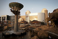 Water feature at Afra's theme park in Khartoum, Sudan. Khartoum's first mall 'Afra' opened in 2004 and has become popular with affluent Sudanese..Khartoum is modeling itself as the Dubai of Africa and despite Western sanctions the city is booming. Away from the troubles and poverty that plaque the rest of Sudan, development in Khartoum is moving at an astonishing rate. Investment from the East, and in particular China, allowed the Sudanese economy to grow by 11% in 2007. This growth is driven largely by oil, with production rising from 63,000 barrels per day in 1999 to over 500,000 barrels today.