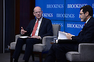 Washington, DC - March 31, 2016: Czech Republic Prime Minister Bohuslav Sobotka (l) participates in a panel discussion, moderated by Norman Eisen, about the future of the European Union at the Brookings Institution in the District of Columbia, March 31, 2016.  (Photo by Don Baxter/Media Images International)
