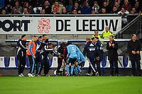 VOETBAL: HEERENVEEN: Abe Lenstra Stadion, SC Heerenveen - Ajax, 11-01-2012, Eindstand 0-5, Ismaïl Aissati (#28) viert z'n doeltpunt (0-2) samen met Vurnon Anita (#5) en de Ajax wisselspelers, ©foto Martin de Jong