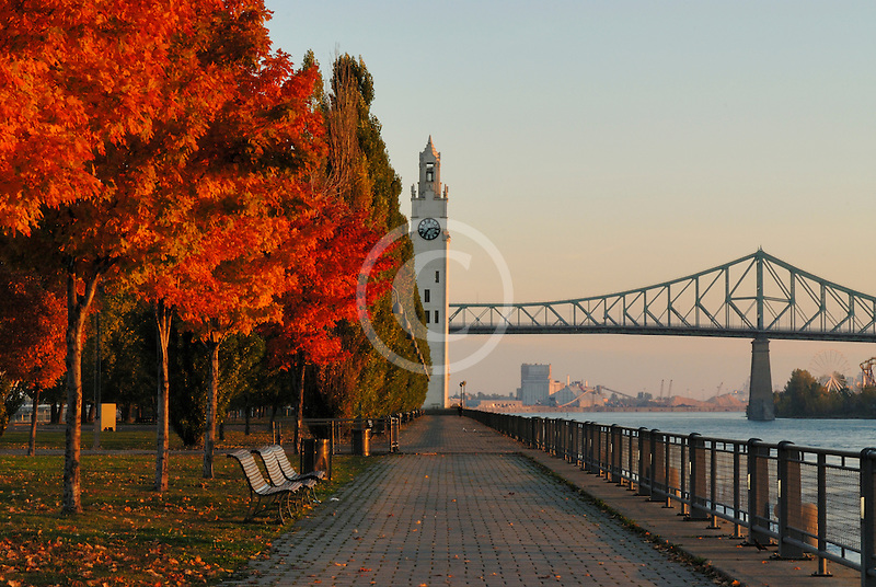 Canada, Montreal, Quai de lHorloge, Clock Quay, with fall foliage