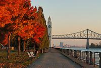 Canada, Montreal, Quai de lHorloge, Clock Quay, with fall foliage