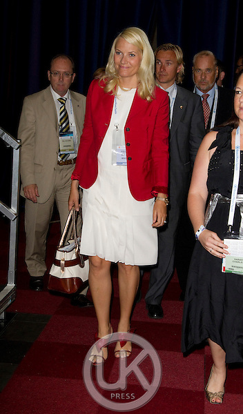 Crown Princess Mette Marit of Norway on a three day visit to Vienna to attend the 18th International UNAIDS Conference, attending the Conference at The Vienna Congress Centre
