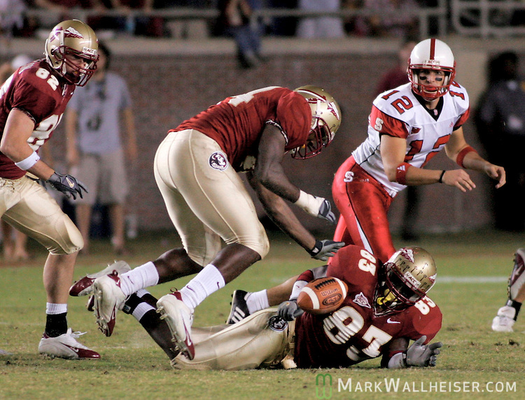 Florida State's Sam McGrew (top) and Lawrence Timmons (83) recover the first of two block punts as the North Carolina State punter John Deraney (12) watches November 5, 2005 in Tallahassee, Florida. North Carolina State defeated Florida State 20-15.