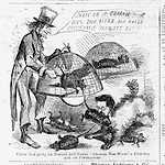 "Civil War Anti corruption cartoon: ""Uncle Sam giving his favorite Bull-Terrier Charlie Van Wyck a Field-Day with the Contractors"" Harper's Weekley March 1, 1862"