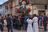 Procession of the Virgin Mary, a catholic festival held near Easter in the streets of Cusco, Peru, South America