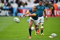 Fourie du Preez of South Africa passes the ball during the pre-match warm-up. Rugby World Cup Pool B match between South Africa and the USA on October 7, 2015 at The Stadium, Queen Elizabeth Olympic Park in London, England. Photo by: Patrick Khachfe / Onside Images